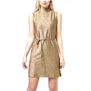 Topshop Metallic Gold Mock Neck Mini Dress Holiday